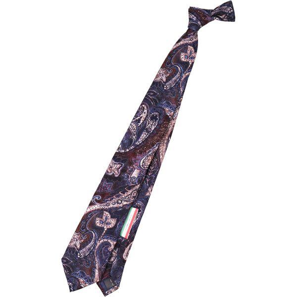 【SL】ウールペイズリーネクタイ 8.0cm幅/ネイビー×ブラウン×ホワイト/ITALIAN FABRICS スーツセレクト通販 suit select