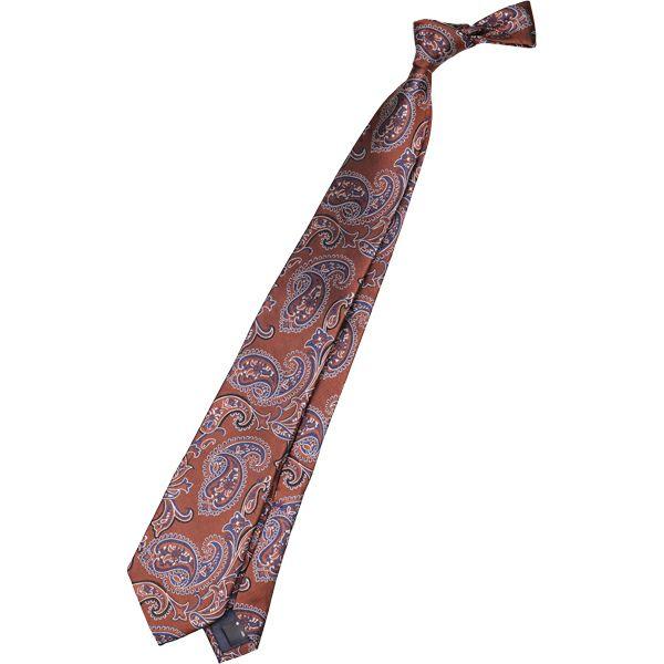 【SL】シルクペイズリーネクタイ 8.5cm幅/ブラウン×ネイビー×シルバー スーツセレクト通販 suit select