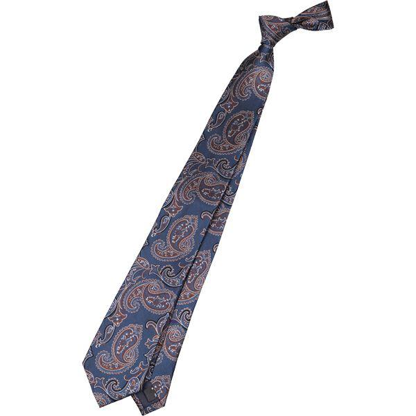 【SL】シルクペイズリーネクタイ 8.5cm幅/ネイビー×ブラウン×シルバー スーツセレクト通販 suit select