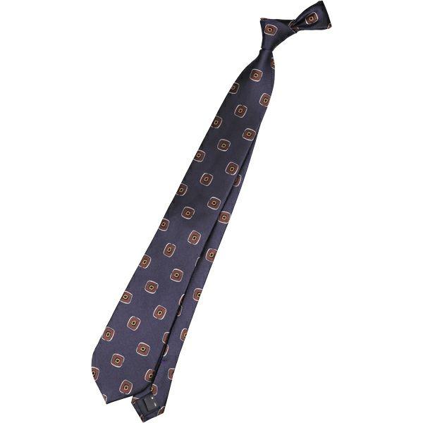 【SL】シルク小紋ネクタイ 8.0cm幅/ネイビー×ブラウン スーツセレクト通販 suit select