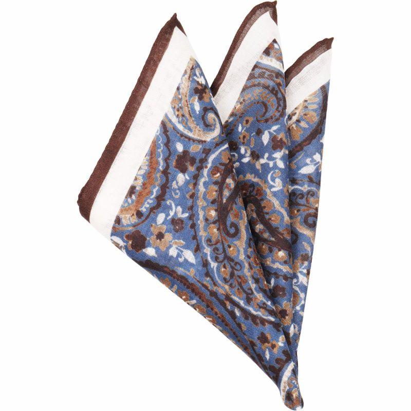 ウールシルクポケットチーフ/ブラウン&ブルー×ペイズリー+ブラウントリミング/MADE IN ITALY スーツセレクト通販 suit select